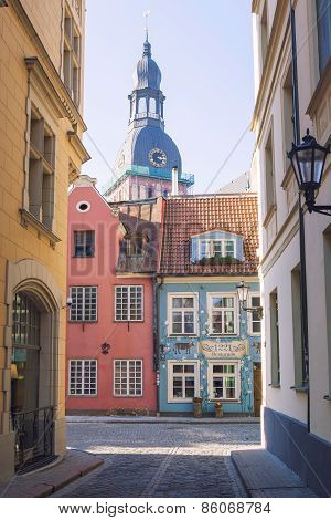 Colorful buildings with shops and cafes in Riga old centre