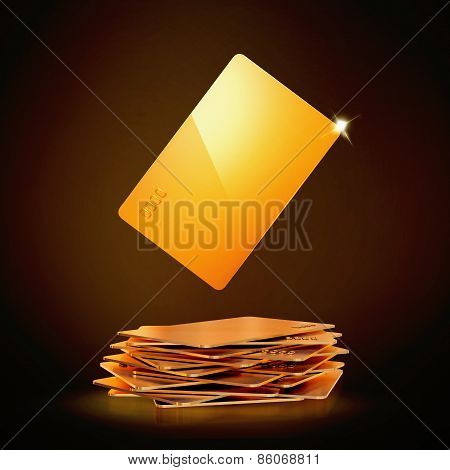 Golden business Card On Black Background