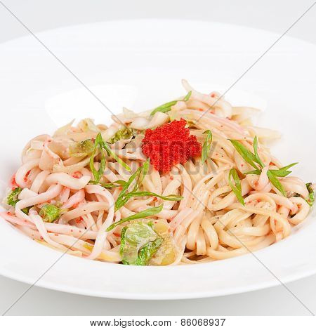 The udon needle with caviar and shrimps