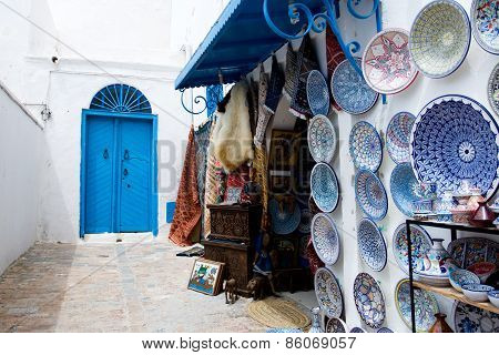Market Traditional Souvenirs On The Streets Of Sidi Bou Said, Tunisia