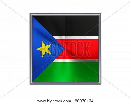Square Metal Button With Flag Of South Sudan