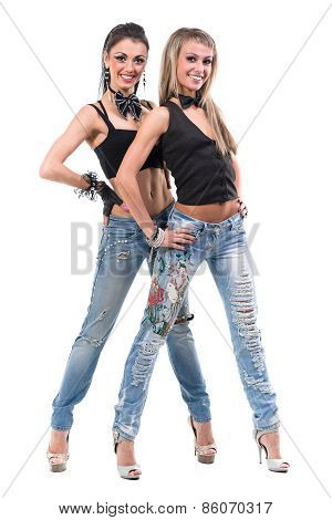 two sexy girls posing, isolated over white background