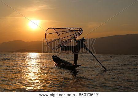 Traditional Fisherman at Inle Lake