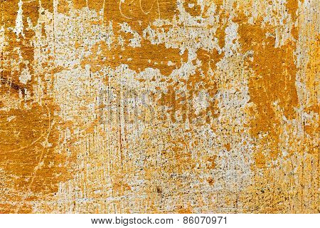 Creative Background Beautiful Concrete Casually Painted Yellow Paint, Cracks And Scratches. Grungy C