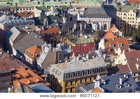Aerial view of roofs in old centre of Riga