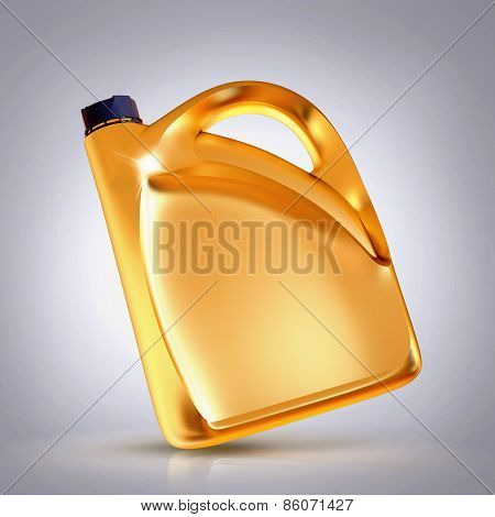 Golden Canister  On Grey  Background.