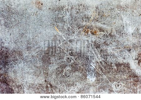 Abstract Concrete, Weathered With Cracks And Scratches. Landscape Style. Grungy Concrete Surface. Gr