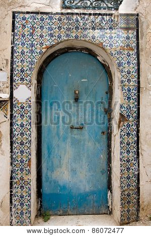 Blue Doors And White Wall Of Building In Sidi Bou Said, Tunisia