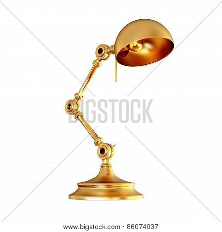 Vintage Golden Lamp Isolated On White Background