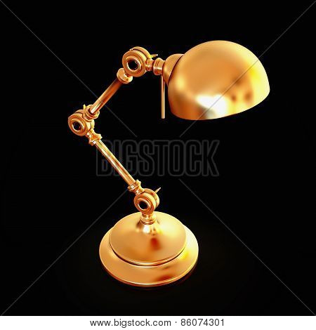 Vintage Golden Lamp Isolated On Black Background
