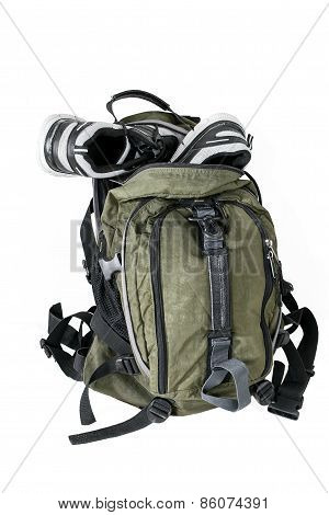 Backpack With Sneakers On A White Background
