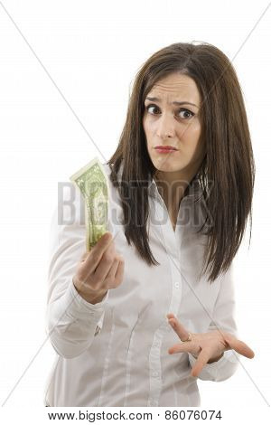 Businesswoman With Dollar On A White Background