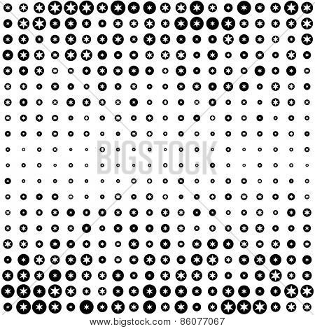 Seamless Circle and Star Pattern. Abstract Black and White Background. Vector Regular Texture