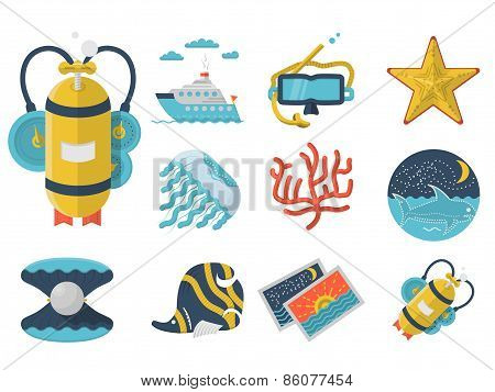 Summertime flat color icons vector collection