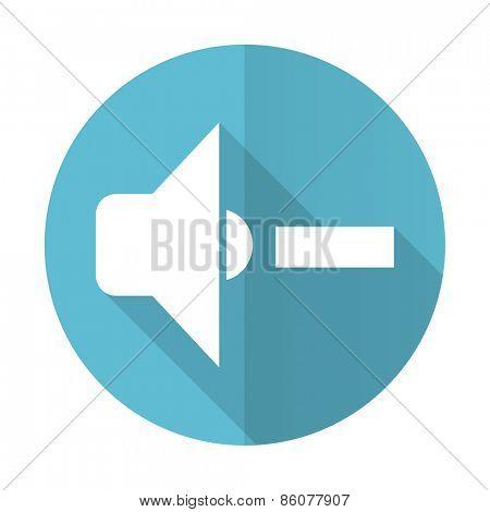 speaker volume blue flat icon music sign