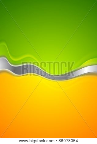 Abstract green and orange background. Vector design with metallic wave