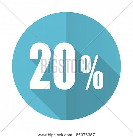 20 percent blue flat icon sale sign