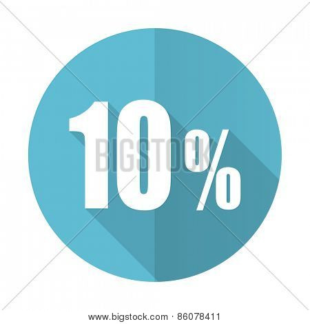 10 percent blue flat icon sale sign