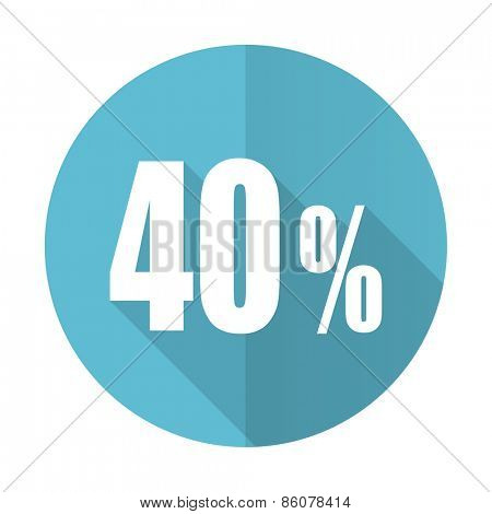 40 percent blue flat icon sale sign