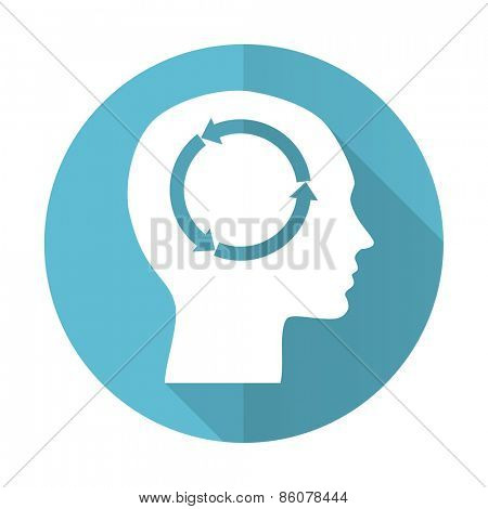 head blue flat icon human head sign