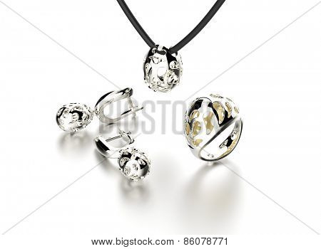 collection with Ring and earring  in egg shape with diamond. Jewelry background