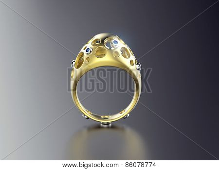 Ring in egg shape with diamond. Jewelry background