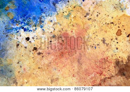 Yellow Ochre with Blue Watercolor Textures