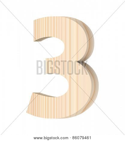 Number from wooden alphabet set isolated over white.