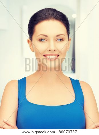 bright picture of beautiful woman in casual clothes