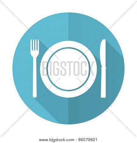 eat blue flat icon restaurant symbol