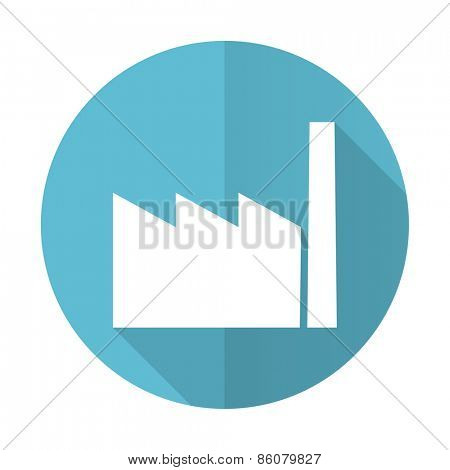 factory blue flat icon industry sign manufacture symbol
