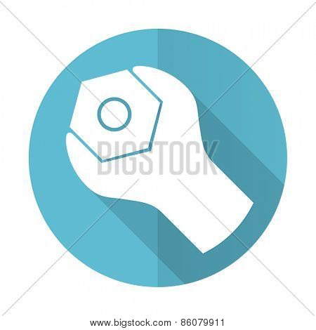 tools blue flat icon service sign