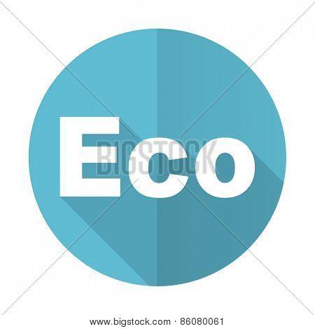eco blue flat icon ecological sign