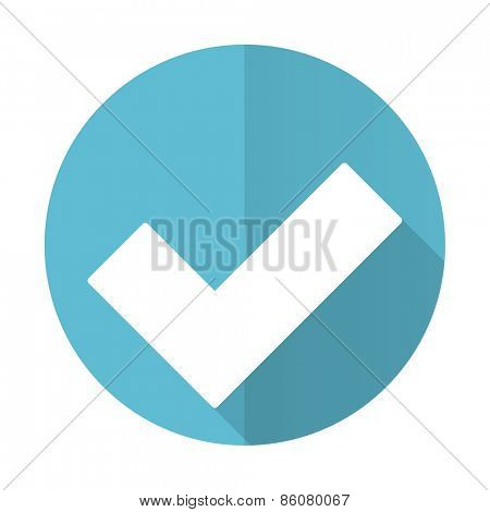 accept blue flat icon check sign