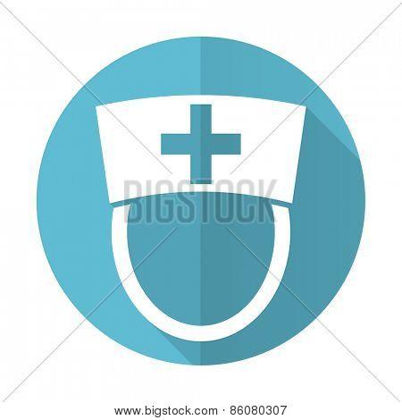 nurse blue flat icon hospital sign
