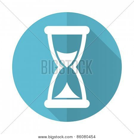 time blue flat icon hourglass sign