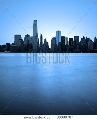 Lower Manhattan in New York City with blue filter