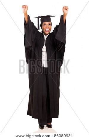 joyful african american female university graduate arms up isolated on white