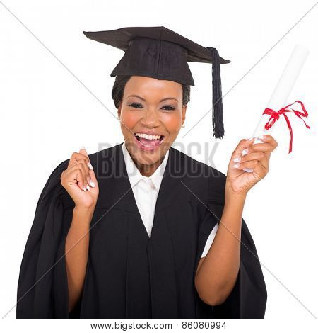 cheerful african american graduate student with diploma in her hand