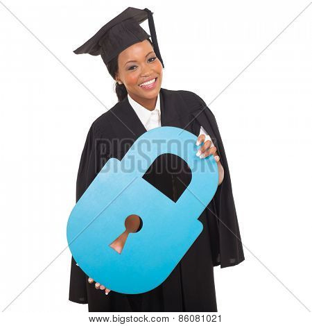 pretty afro american graduate with paper lock isolated on white