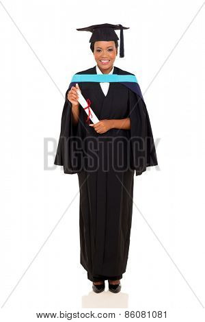 happy african female university graduate full length portrait isolated on white