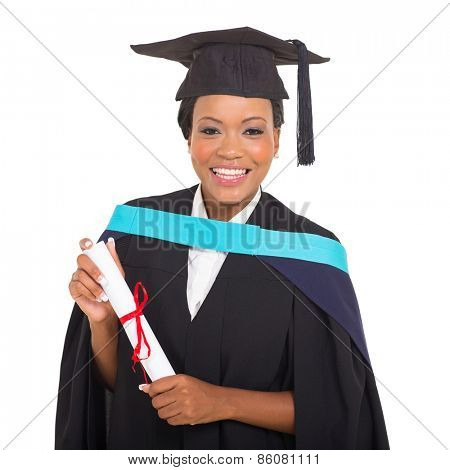 attractive female african college graduate holding certificate