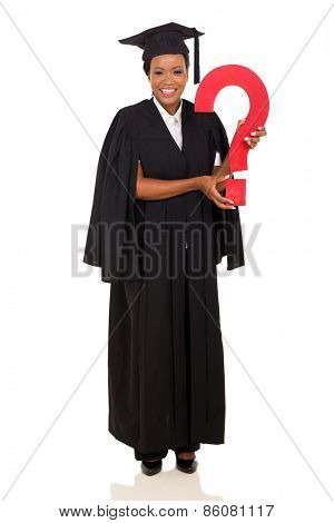 female african college graduate with question mark isolated on white