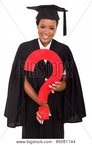 happy young african female graduate with question mark on white background