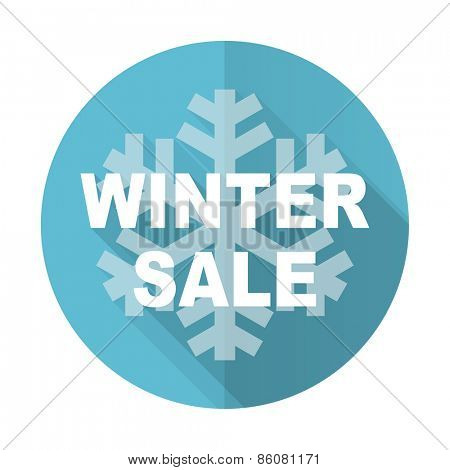 winter sale blue flat icon