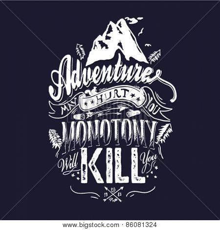 Mountain themed outdoors emblem logo