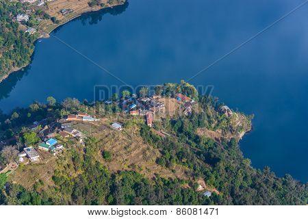 Phewa Lake aerial view near Pokhara in Nepal