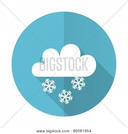 snowing blue flat icon waether forecast sign