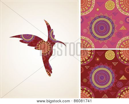 Bohemian, Tribal, Ethnic background with humming bird illustration and patterns