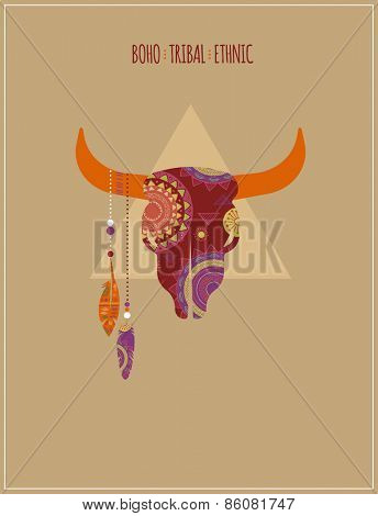Bohemian, Tribal, Ethnic background with bull skull and feathers